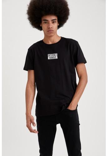 DeFacto black Short Sleeve Round Neck Cotton Printed T-Shirt 2A10FAAC1DA5D5GS_1