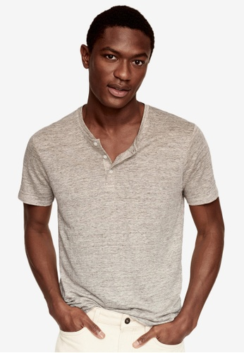 MANGO Man beige 100% Linen Henley T-Shirt F0B46AAFC45101GS_1