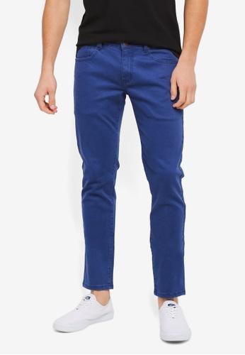 ZALORA 海軍藍色 修身時尚牛仔褲 08363AAE3328BFGS_1