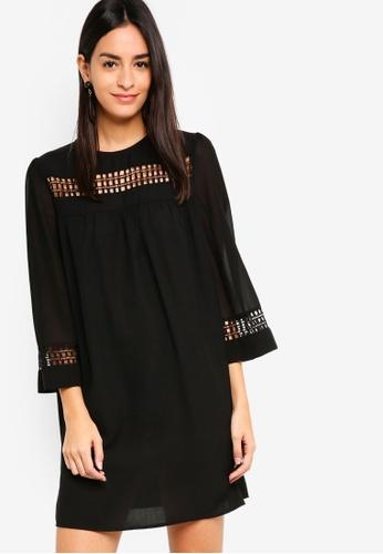 ZALORA black Lace Trim Swing Dress BF3B3AABA6D9DBGS_1