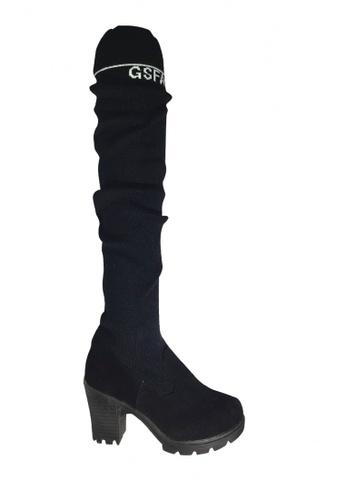 Twenty Eight Shoes 黑色 針織過膝長襪水台高跟靴 VB1314 7B744SH3533ACEGS_1