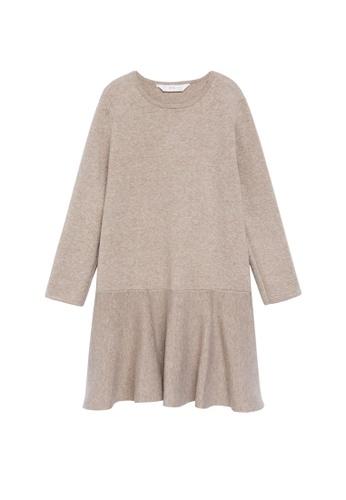 MANGO KIDS brown Fluted Hem Jersey Dress E031BKAA7CFA99GS_1