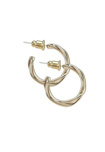 Red's Revenge gold 14K Gold Plated Modern Minimal Hoop Earrings B91E9ACDB10AE3GS_1