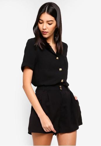 ZALORA black Pocket Detail Short Sleeves Button Down Shirt 3DECDAA72342C1GS_1