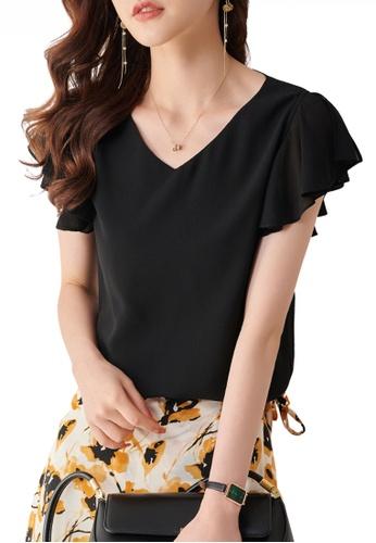 HAPPY FRIDAYS black Feminine Chiffon Ruffle Sleeve Top JW ZX-80136 4BAABAAF583EE9GS_1