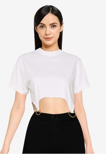 Public Desire white D Ring Detail Crop T-Shirt 16E3BAAE87E42CGS_1