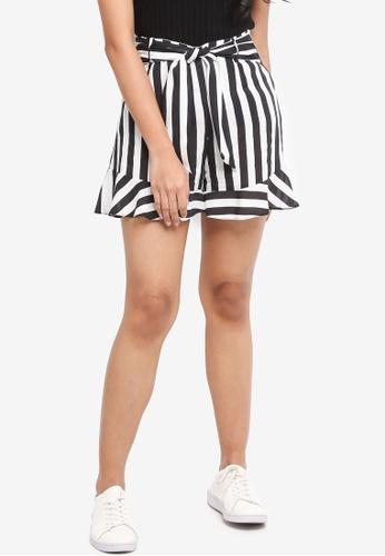 Miss Selfridge black Black Striped Tie Waist Shorts 69DB4AA06ECC03GS_1