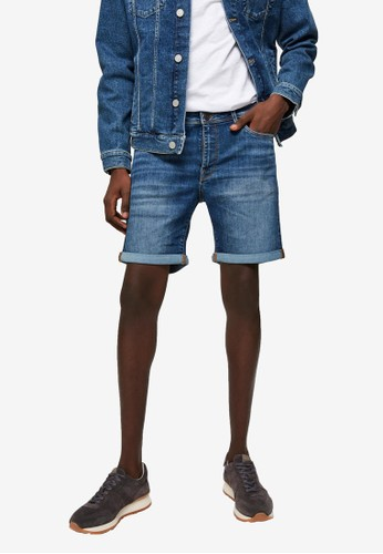 Selected Homme blue Super Stretch Denim Shorts F5D14AA74305F7GS_1