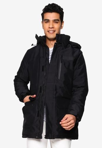 BLEND navy High Collar Hooded Parka Jacket AEB3FAAF11F4A7GS_1