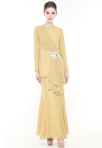 Pionery Kurung Modern in Mustard Yellow from Rina Nichie Couture in yellow_1