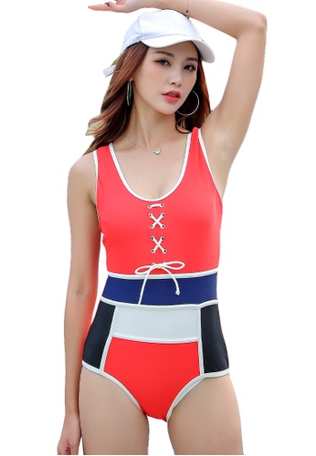 YG Fitness red Sexy Contrast Color One-Piece Swimsuit 2F299USB53962FGS_1