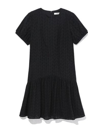 b+ab black Perforated flounce dress 51F00AA69C7C53GS_1