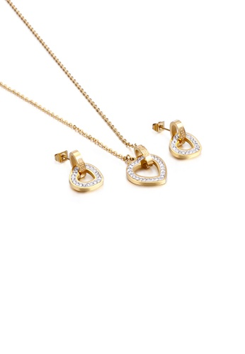 Glamorousky white Fashion Simple Hollow Heart Shaped 316L Stainless Steel Necklace and Earring Set with Cubic Zirconia A42B1AC8AC6068GS_1