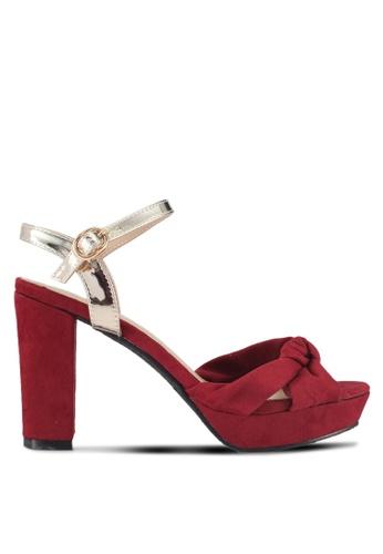 DMK red Knotted Platform Sandal Heels 7C93ASHFA92624GS_1