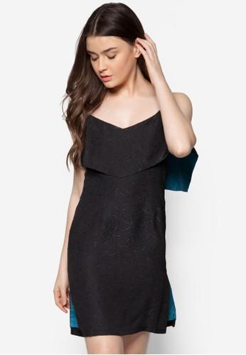 露肩層次壓紋zalora 衣服評價連身裙, 服飾, 晚宴禮服