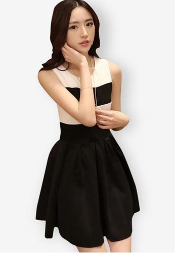 Sunnydaysweety black and white Sweet Slim Dress 84F41AA8805C22GS_1