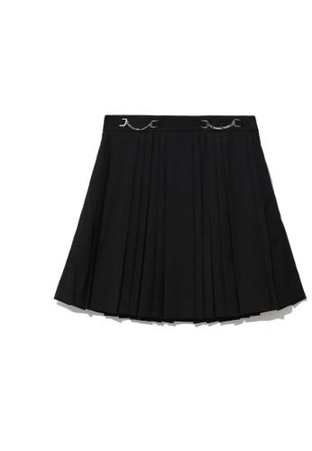 b+ab black Pleated chain mini skirt 476ABAA290DB60GS_1
