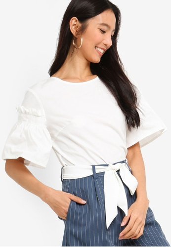 ZALORA white Flare Sleeves Embroidered Top 7E18FAAEE93323GS_1