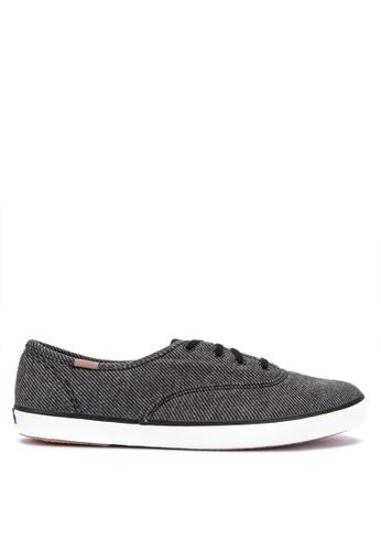 2a2e1294cb3 Keds black Champion Twill Stripe Jersey Sneakers 40330SH51B58E1GS 1