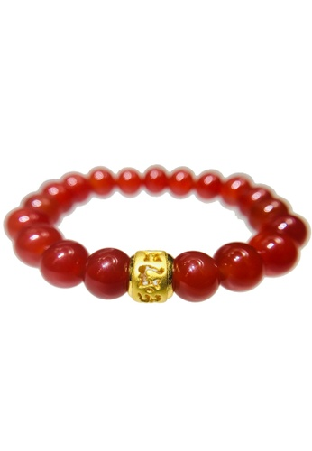 LITZ red and gold [SPECIAL] LITZ 999 (24K) Gold Six Syllable Mantra Charm with free Red Agate Bracelet C3324AC5191A63GS_1