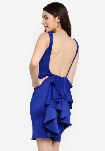 Goddiva blue Open Back Waterfall Midi Dress 08D3DAA838FFD0GS_1