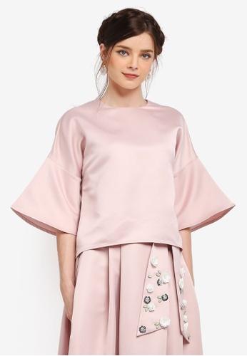 Zalia pink Flare Sleeve Crop Top 4C219AA3F28CE5GS_1