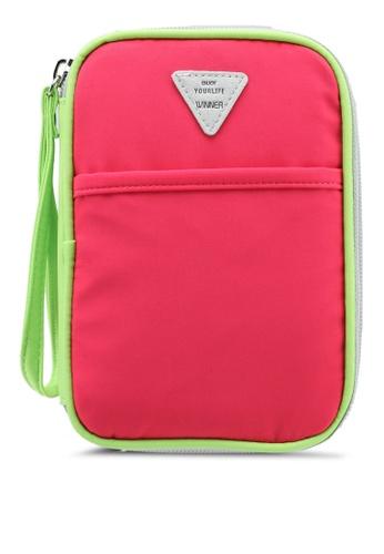 Bagstationz pink Colour Block Travel Zip-Up Passport Pouch 2FC20ACE937CE7GS_1
