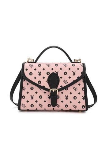 PLAYBOY BUNNY pink Ladies Monogram Top Handle Sling Bag E7EDCACB18F58FGS_1