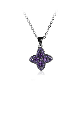 Glamorousky purple Fashion Four-leafed Clover Pendant with Purple Cubic Zircon and Necklace 677F2ACF89CF79GS_1