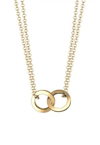 Elli Germany gold Perhiasan Wanita Perak Asli - Silver Kalung Circle Plate Gold Plated EL948AC02OXPID_1