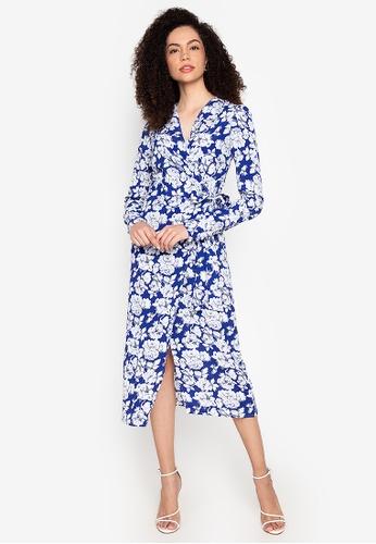 CeFina blue Floral Wrap Dress 795C4AACF7B5DAGS_1