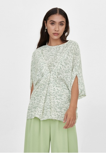 Pomelo white Cape Sleeves Floral Loose Top - White 18DC1AA2FAECD5GS_1