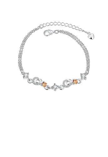 Glamorousky gold Classic Creative Water Drop Bracelet with Champagne Cubic Zircon C22A7ACE5EE57EGS_1