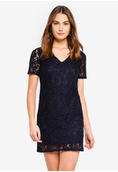 Dorothy Perkins navy Navy Two Tone Lace Shift Dress 54218AAD1AAFC4GS 1 469fae62a