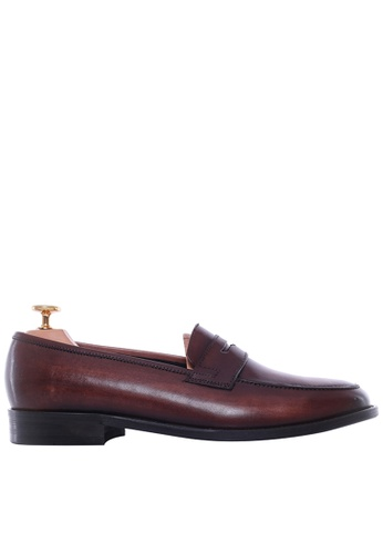 Zeve Shoes brown Zeve Shoes Penny Loafer - Dark Brown (Hand Painted Patina) 03934SH0C4DEB7GS_1