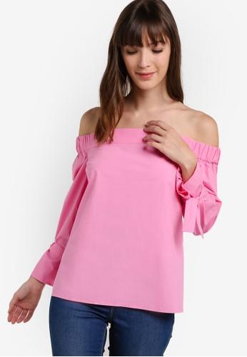 WAREHOUSE 粉紅色 Tie Sleeve Bardot Top WA653AA51ZXGMY_1