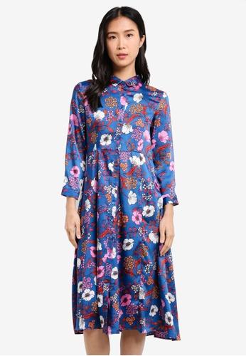 Mango blue Floral Shirt Dress MA193AA0SD18MY_1