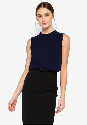 FORCAST navy Jada Frill Neck Top 020ECAAABFE7E3GS_1