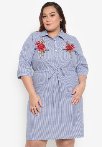d92a6075c8c Divina blue Plus Size 3 4 Sleeves Stripe Dress with Floral Patches  4C1FAAA5C73209GS 1