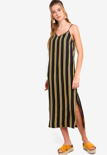 Something Borrowed black and navy Midi Slip Dress With Slits BE87DAA3E19E50GS_1