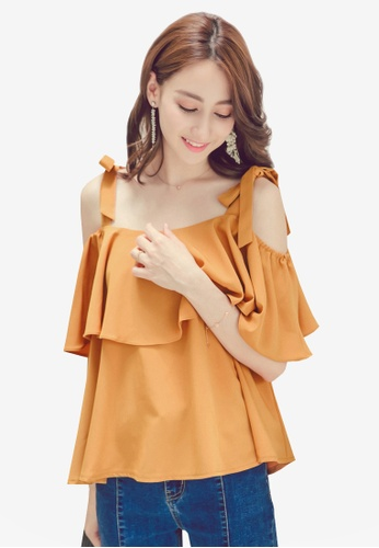 Yoco yellow Flounce Ribbon Shoulder Tie Top 8F5C1AAEEF8CE6GS_1