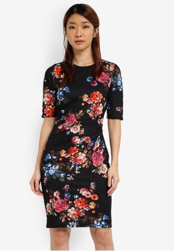 Dorothy Perkins black Cluster Floral Bodycon Dress DO816AA0SJ5ZMY_1