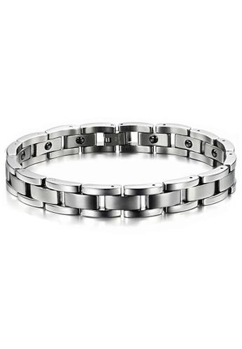 YOUNIQ silver YOUNIQ Magnetic Titanium Steel Bracelet Health Chain for Men (Silver) C402BACF3A2E11GS_1