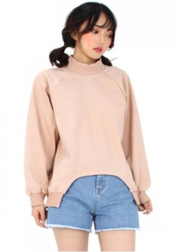 A X A pink Cut-Out Sweat Shirt AX230AA91CCUSG_1