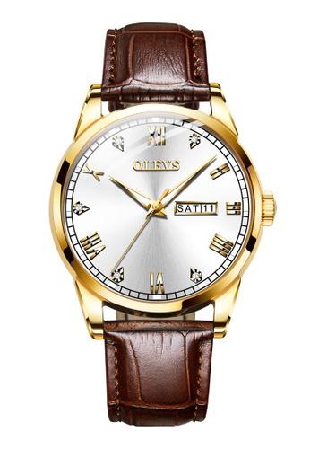 OLEVS multi Olevs Classic Crystal Roman Marker Leather Men Quartz Watch E5664AC90A6236GS_1