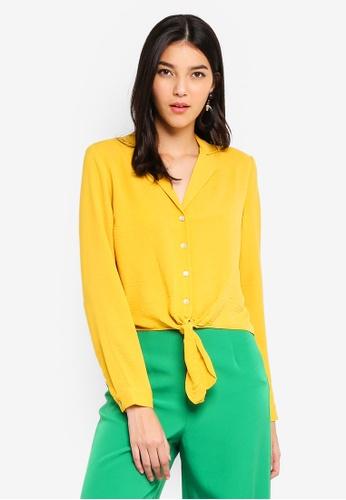 Miss Selfridge 黃色 Yellow Tie Front Shirt FD626AA2372331GS_1