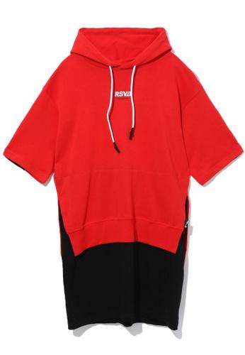 izzue red Layered slogan hoodie dress 11727AA0718953GS_1