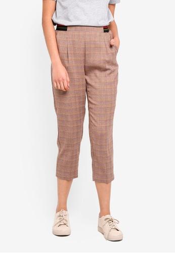 ESPRIT brown Check Length Service Pants 4DDFDAACA6B1B1GS_1