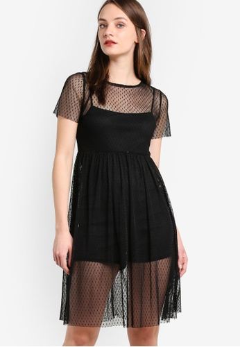 Miss Selfridge black Petite Dobby Mesh Overlay Dress MI665AA14JDDMY_1