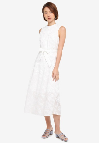 WAREHOUSE white Floral Embroidered Shirt Dress F8B9DAA42B6645GS_1